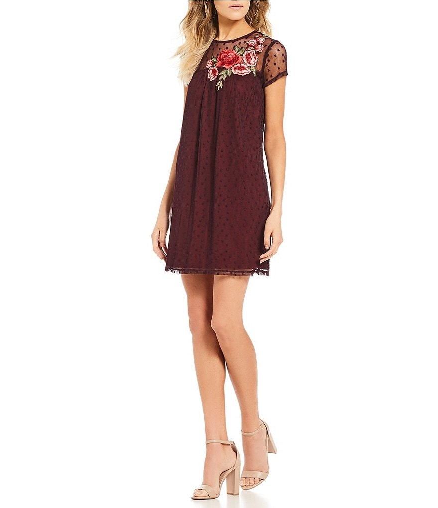Xtraordinary Embroidered Dotted-Mesh Shift Dress