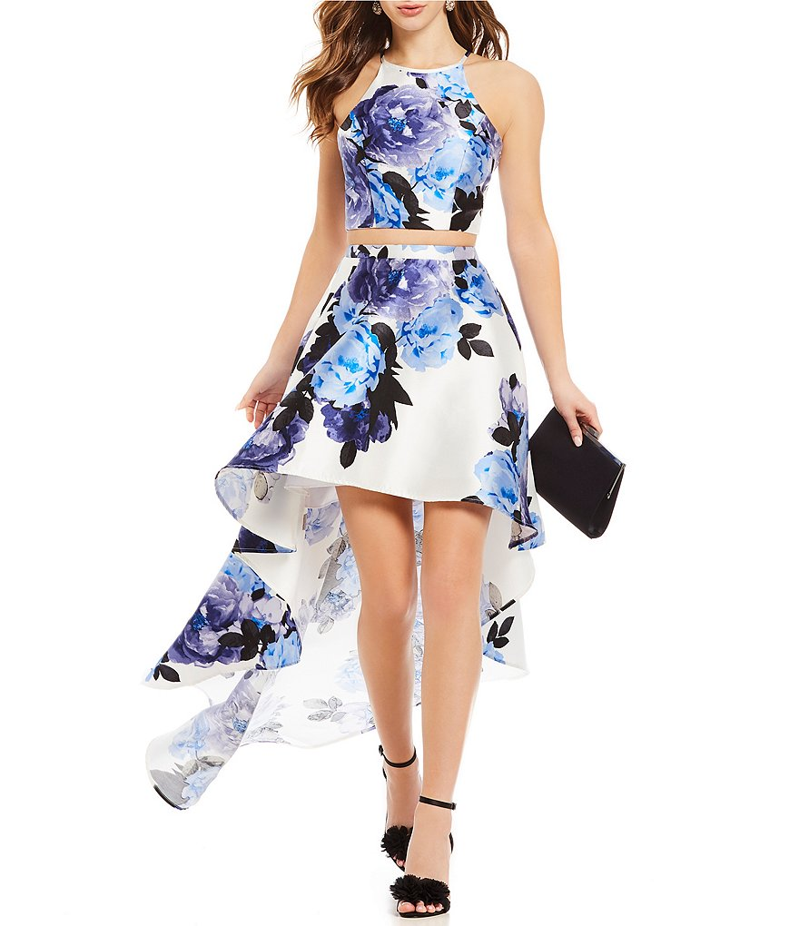 Xtraordinary Floral Print Two-Piece High-Low Dress