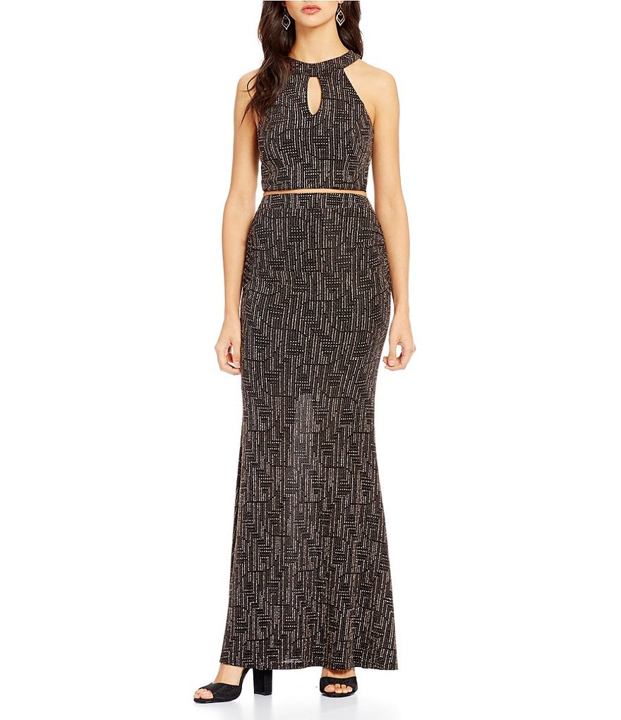 Xtraordinary Glitter-Accented Two-Piece Long Dress