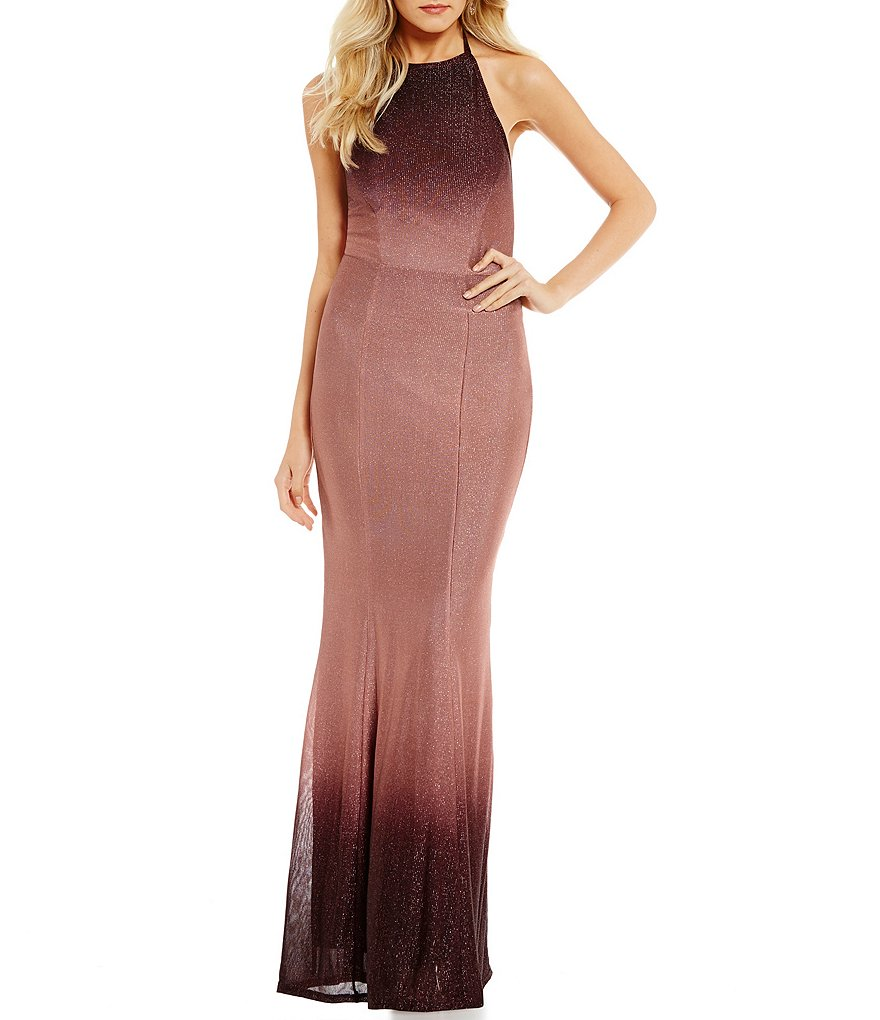 Xtraordinary Halter-Neck Ombre Long Dress
