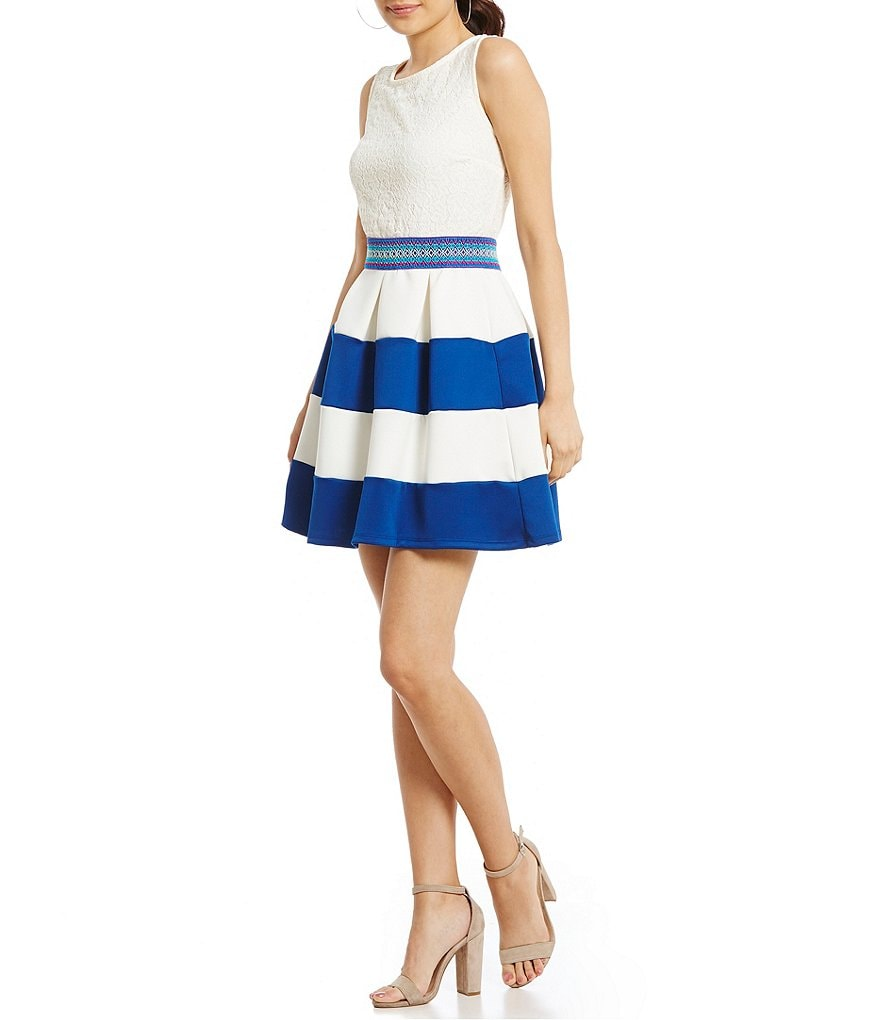 Xtraordinary Lace Bodice Color Block Fit-And-Flare Dress