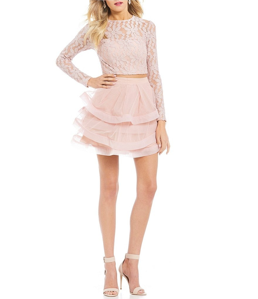 Xtraordinary Long Sleeve Lace Top Two-Piece Dress
