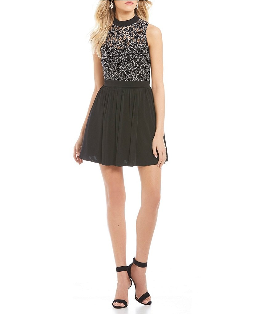 Xtraordinary Mock Neck Lace Top Two-Piece Dress