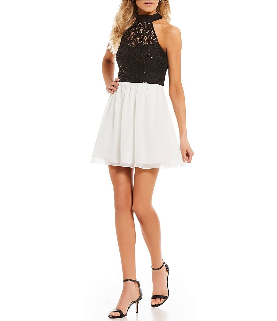 Xtraordinary Mock Neck Sequin Lace Bodice Fit-And-Flare Dress