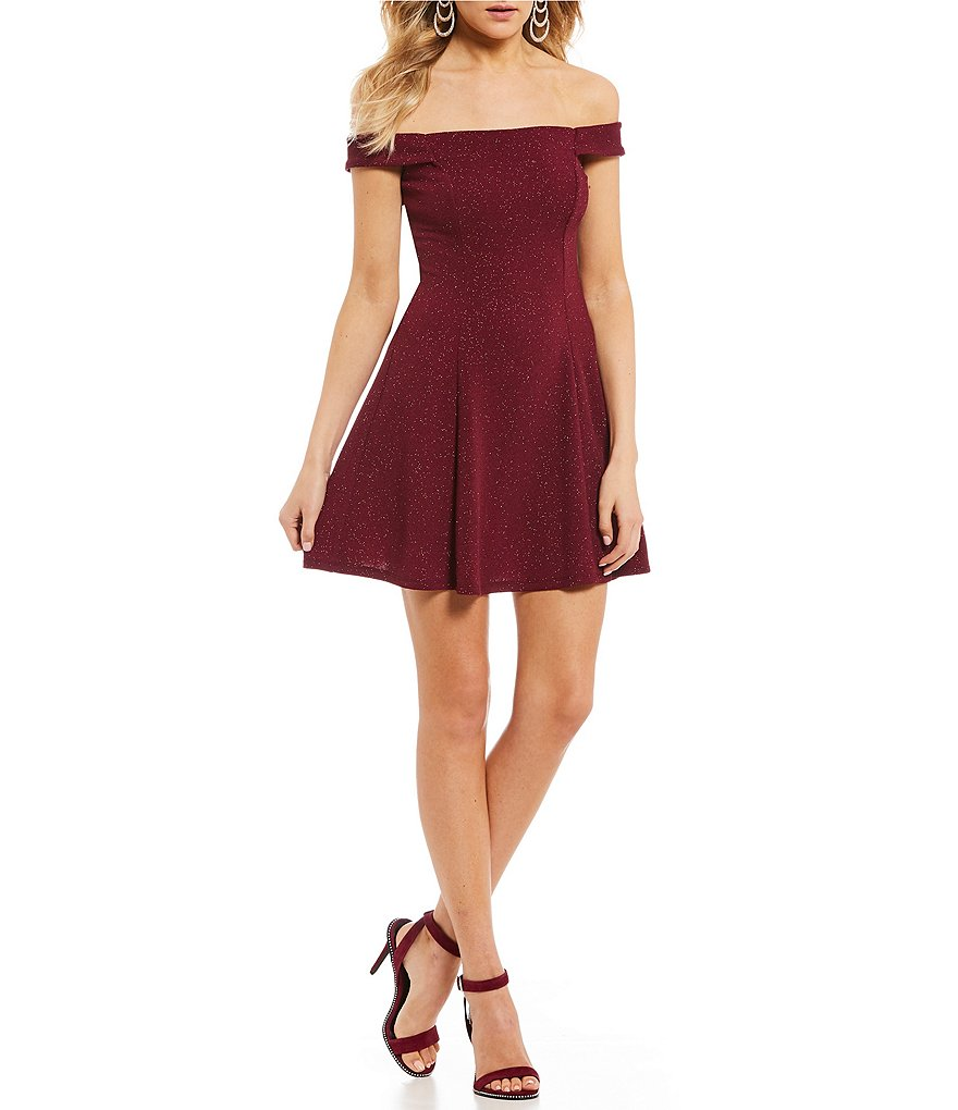 Xtraordinary Off-The-Shoulder Glitter Knit Fit-And-Flare Dress