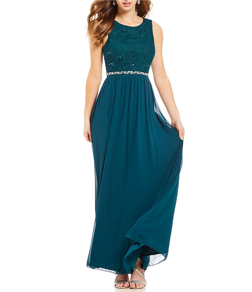 Xtraordinary Sequin Lace Beaded Waist Long Dress