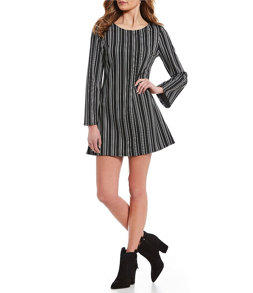 Xtraordinary Striped Lace-Up-Back Shift Dress