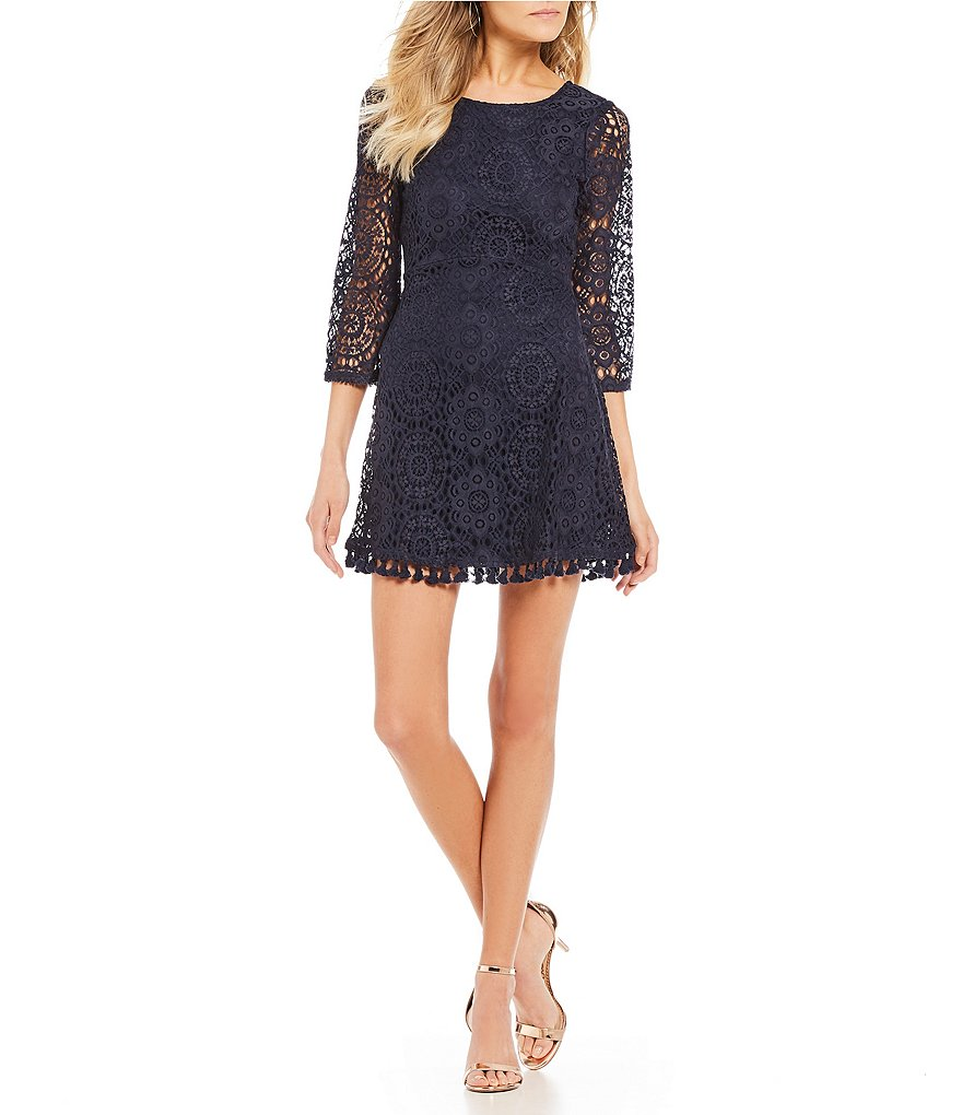 Xtraordinary Tassel Hem Lace Dress