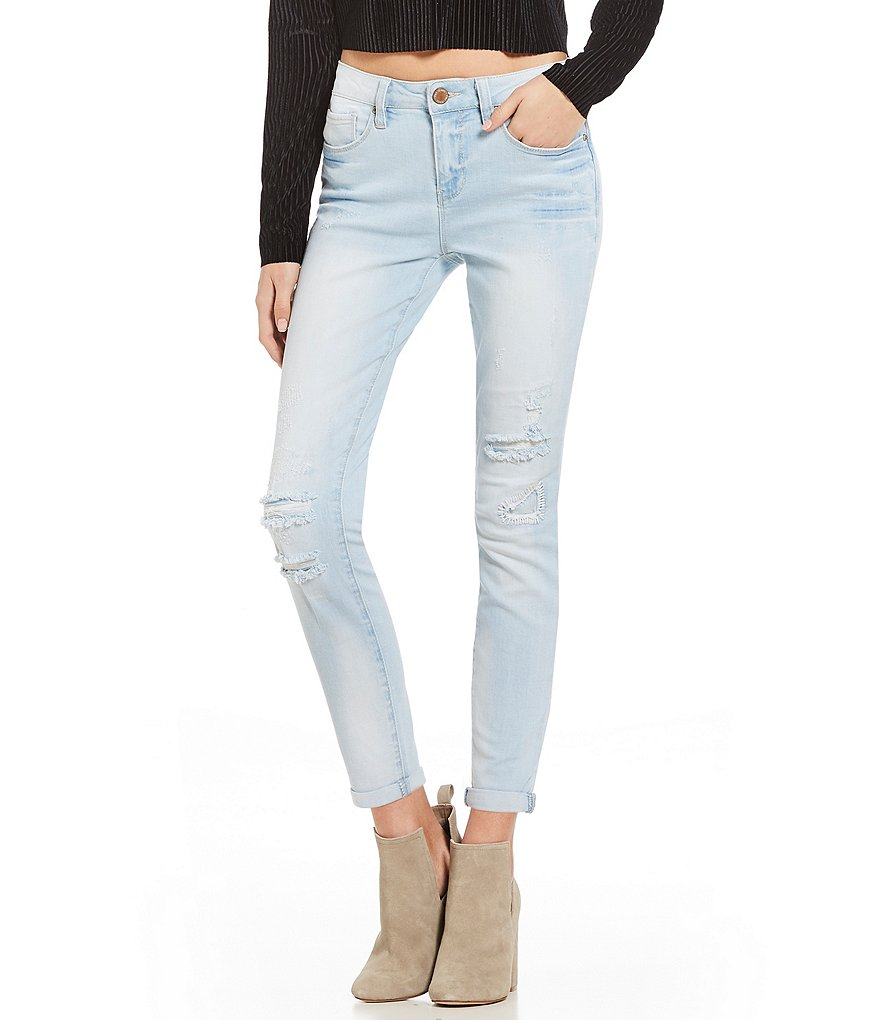 YMI Jeanswear Love Destructed Rolled Cuff Skinny Jeans