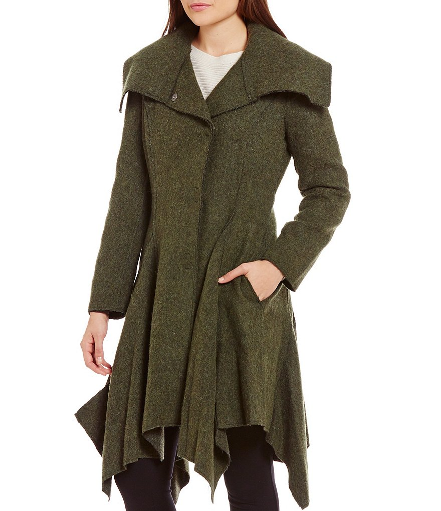 Zac Posen Boiled Wool Handkerchief Hem Coat