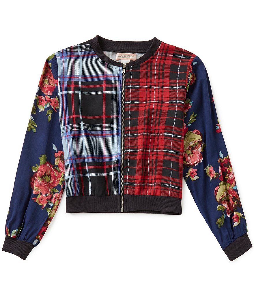 Zoe & Rose by Band Of Gypsies Big Girls 7-16 Floral & Plaid Bomber Jacket