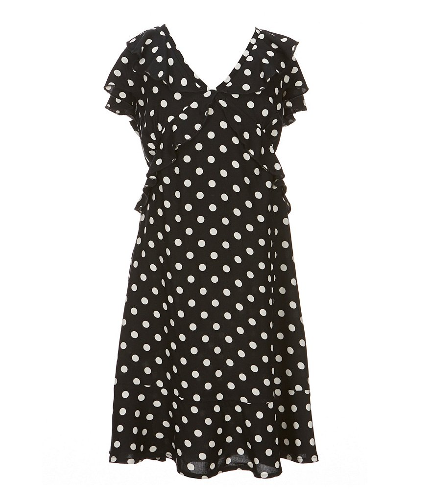 Zoe & Rose by Band of Gypsies Big Girls 7-16 V-Neck Dotted Dress