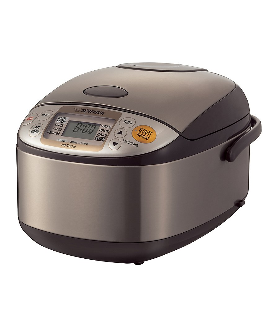 Zojirushi Micom 5.5-Cup Rice Cooker with Stainless Steel Exterior & Steaming Basket