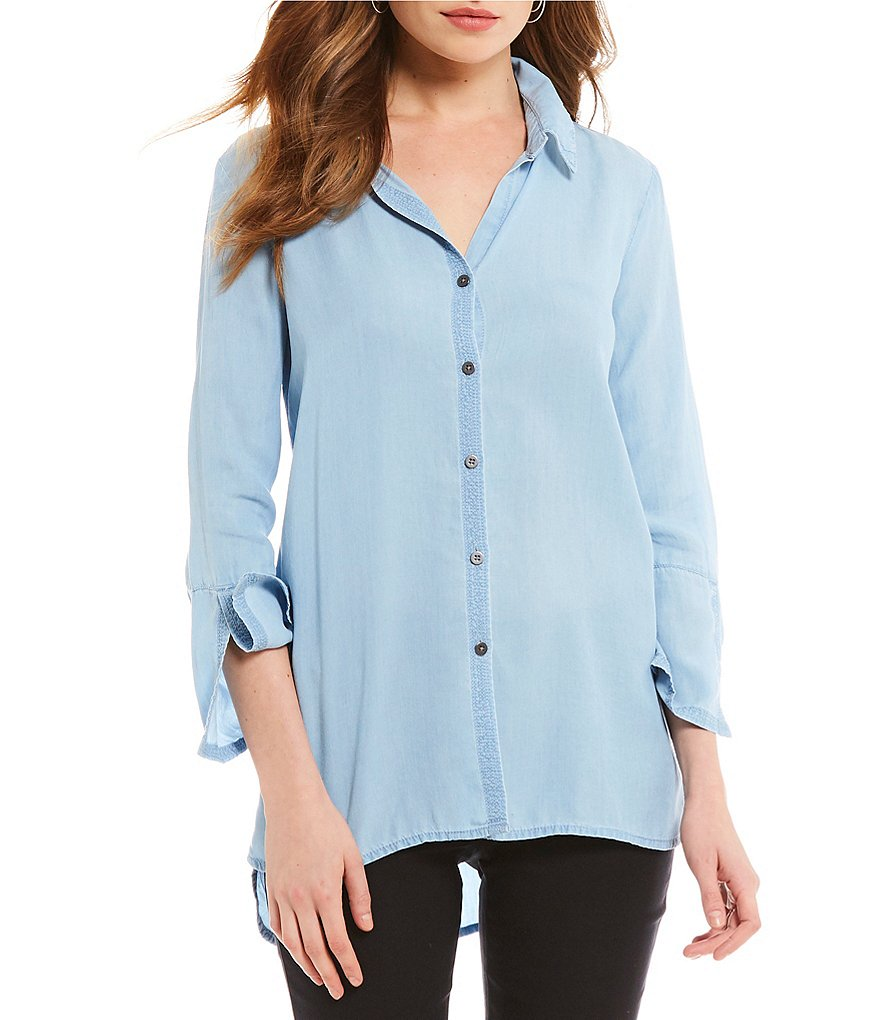 ZOZO Denim Lace Up Top