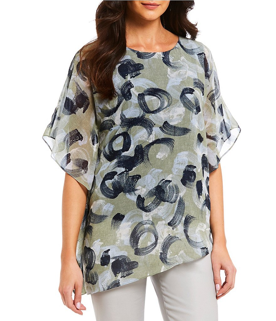ZOZO Soft Swirls Asymmetric Hem Top