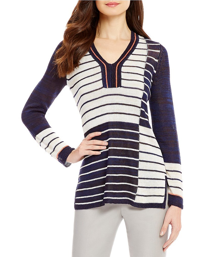 ZOZO V-Neck Long Sleeve Nautical Stripes Top