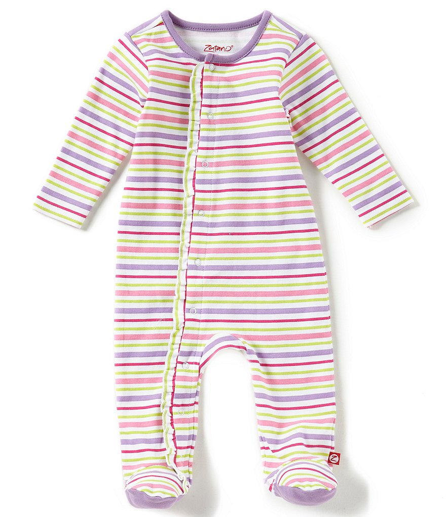 Zutano Baby Girls Newborn-9 Months Striped Footed Coverall