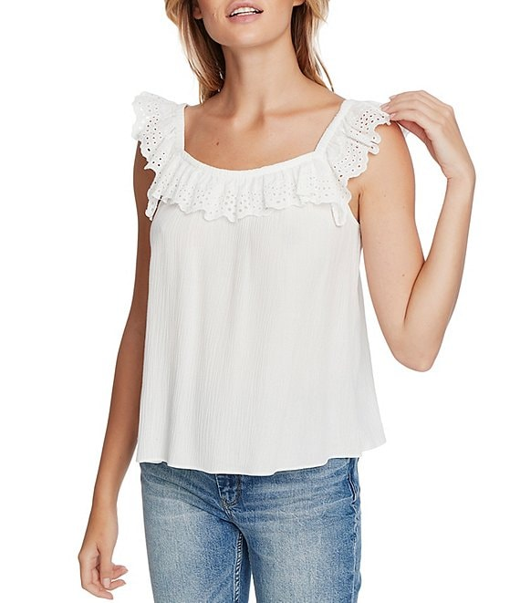 Color:Soft Ecru - Image 1 - Crinkle Gauze Square Neck Sleeveless Top