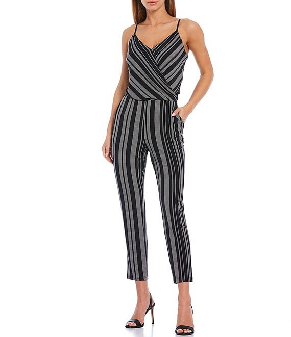 Color:Rich Black - Image 1 - Striped Wrap Front Sleeveless Ankle Length Jumpsuit