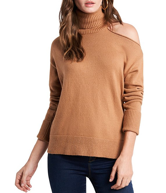Color:Wild Oak - Image 1 - Turtleneck Cold Shoulder Long Sleeve Sweater