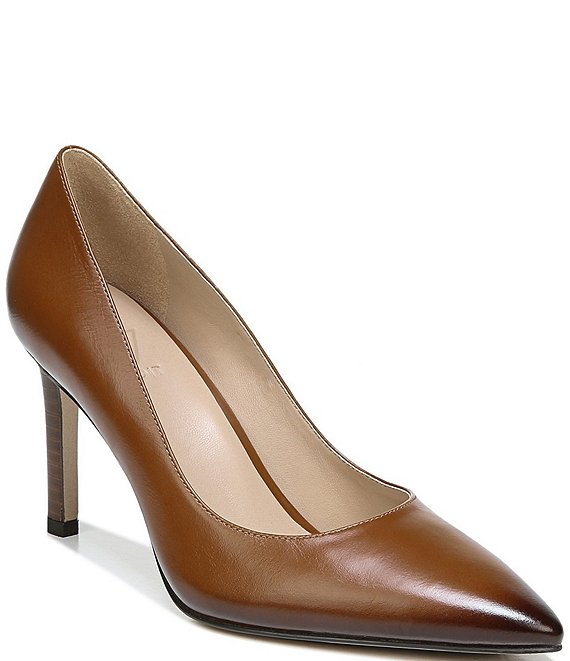 Color:Whiskey Leather - Image 1 - Alanna Leather Pointed Toe Pumps