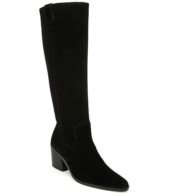 Color:Black Suede WC - Image 1 - Bellamy Wide Calf Suede Tall Shaft Block Heel Boots