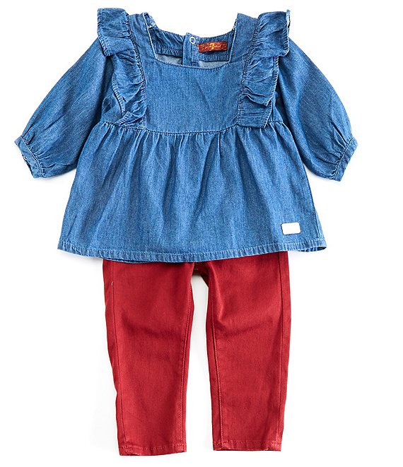 Color:Denim Blue - Image 1 - Baby Girls 12-24 Months Ruffle-Trim Denim Top & Skinny Twill Pants Set