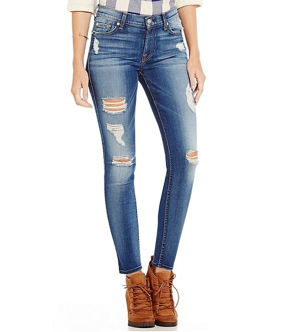 7 for All Mankind Destructed Ankle Skinny Jeans