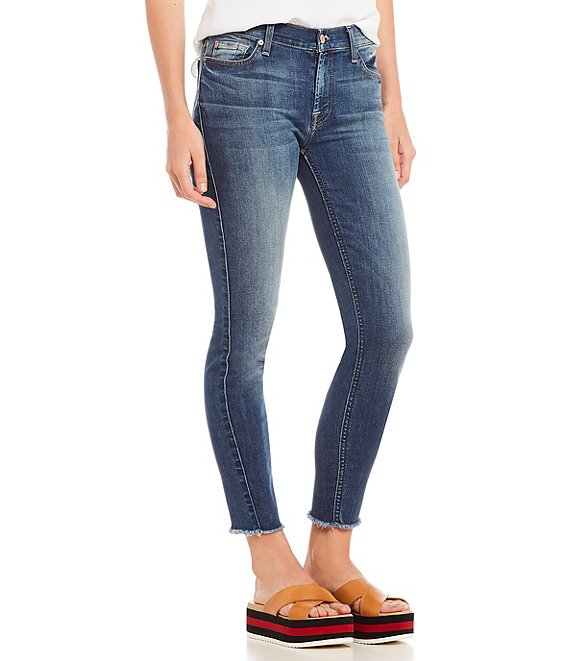 7 For All Mankind Frayed Hem Skinny Ankle Jeans