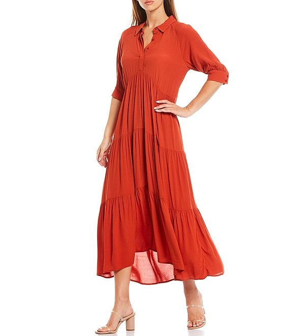 Color:Cinnamon - Image 1 - Loose Fit Elbow Sleeve Tiered Maxi Dress