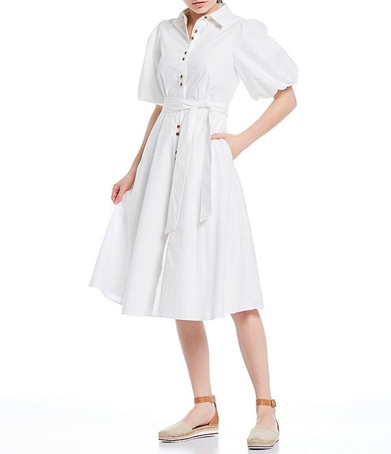 Color:Off White - Image 1 - Short Puff Sleeve Button Down Tie Waist Cotton Poplin Midi Shirt Dress
