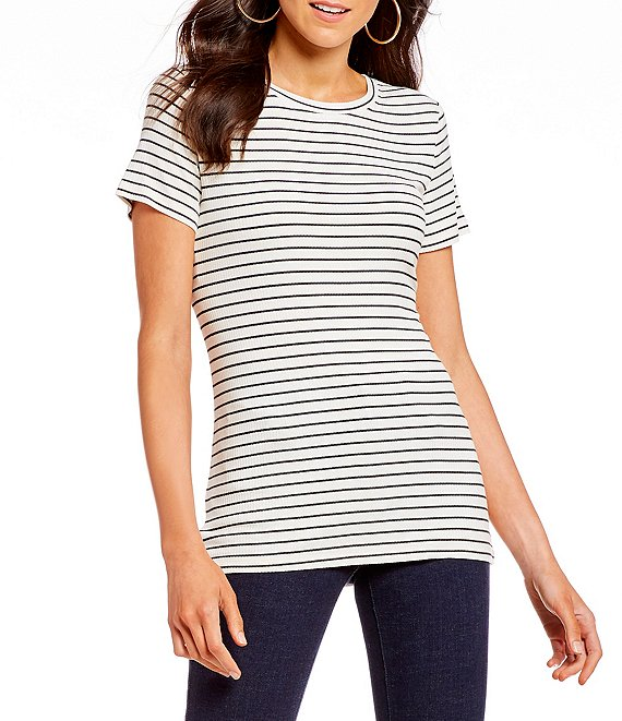 A loves A Striped Ribbed Short Sleeve Tee