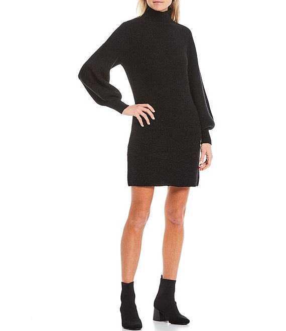 Color:Black - Image 1 - Tear Drop Mock Neck Balloon Sleeve Sweater Dress
