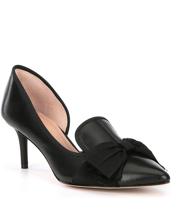 Color:Black - Image 1 - Cavielle Leather Bow Detail d'Orsay Pumps