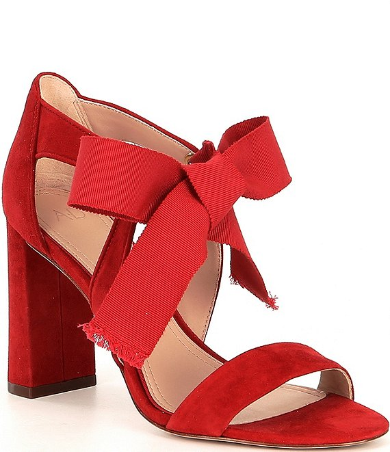Color:Mission Red - Image 1 - Charlotta Bow Suede Block Heels