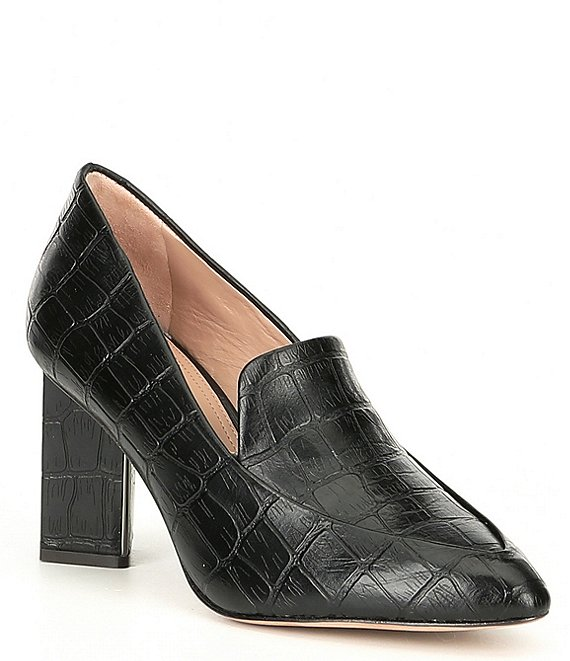 Color:Black - Image 1 - Esmea Croco Printed Leather Block Heel Pumps