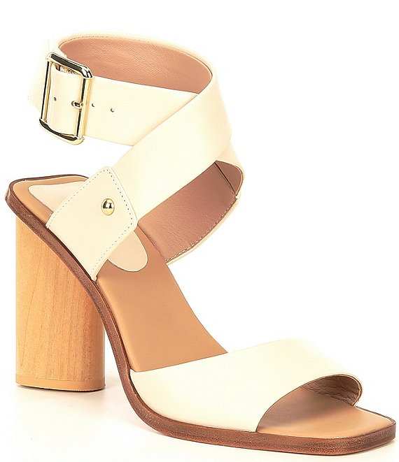 Color:Avena Cream - Image 1 - Hamlin Square Toe Leather Ankle Strap Dress Sandals