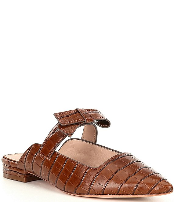 Color:Chestnut - Image 1 - Jemma Croc Embossed Leather Mules