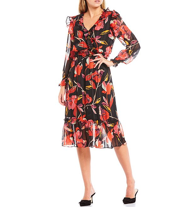 Color:Black Floral - Image 1 - Floral Chiffon Smocked Waist Long Sleeve Midi Dress