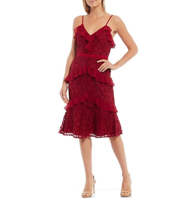 Color:Cherry - Image 1 - Tiered Ruffle Stretch Lace Sleeveless Midi Dress