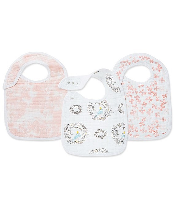 Color:Birdsong - Image 1 - Aden Anais Baby Girls 3-Pack Birdsong Bib Set