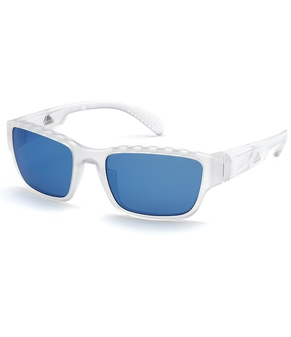 Color:Crystal Blue - Image 1 - Men's Sport 0007 Wrap Mirror Lens Sunglasses