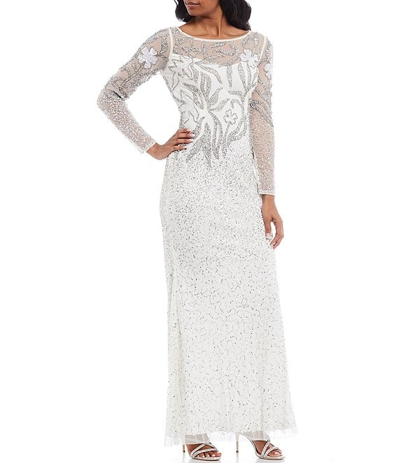Color:Ivory/Silver - Image 1 - Long Illusion Sleeve Beaded Mesh Gown