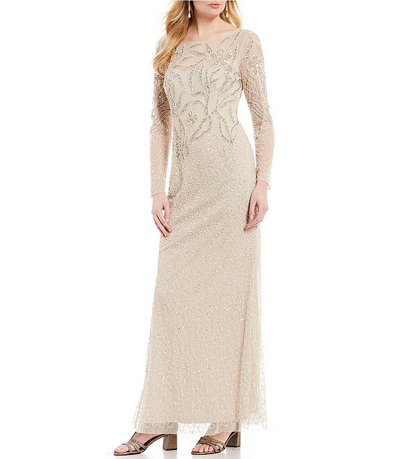 Color:Biscotti - Image 1 - Beaded Long Sleeve Long Gown