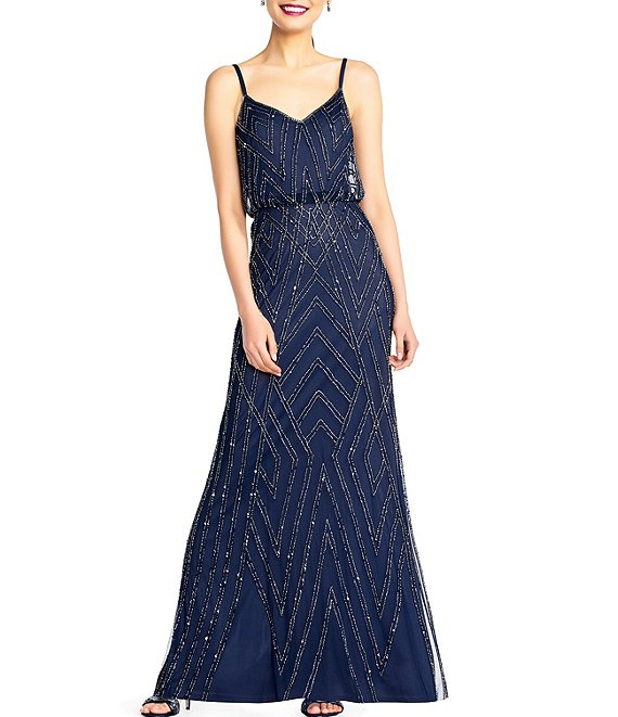 Color:Navy/Gunmetal - Image 1 - Beaded Sheath Blouson Gown