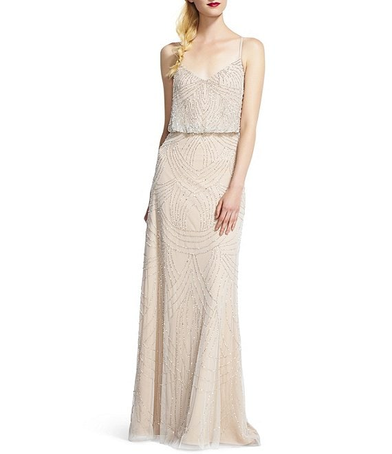 Color:Silver/Nude - Image 1 - Beaded V-Neck Sleeveless Blouson Gown