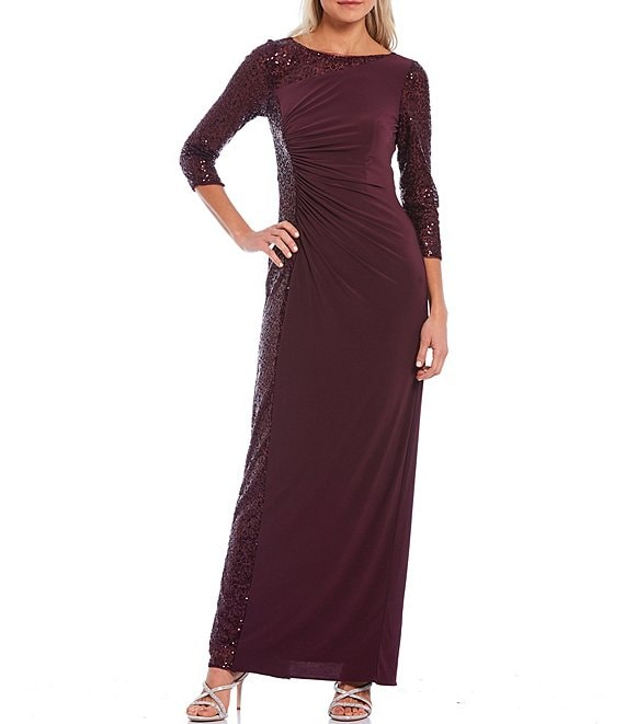 Color:Oxblood - Image 1 - Boat Neck 3/4 Sequin Sleeve Matte Jersey Gown