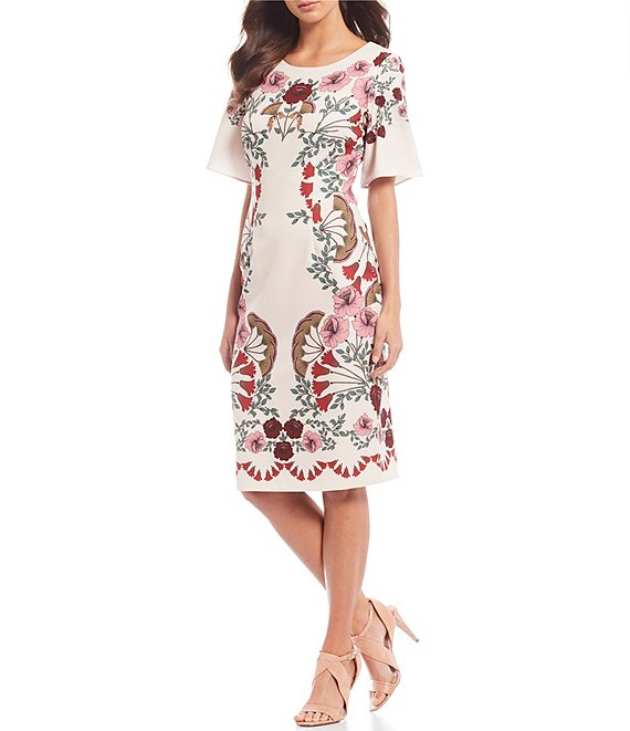 Color:Pink Multi - Image 1 - Boat Neck Floral Print Sheath Dress