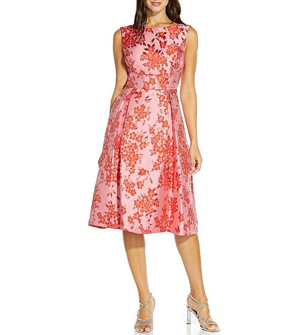 Color:Fuchsia/Red - Image 1 - Cherry Blossom Jacquard Sleeveless Midi Dress