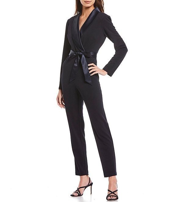 Color:Midnight - Image 1 - Crepe Tuxedo Wrap Jumpsuit
